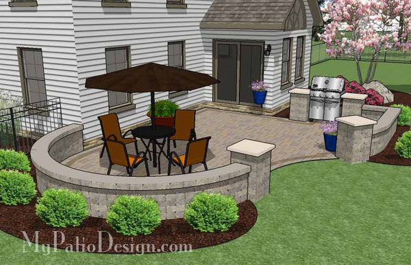 Cheap Backyard Patio Design With Grill Station 395 Sq
