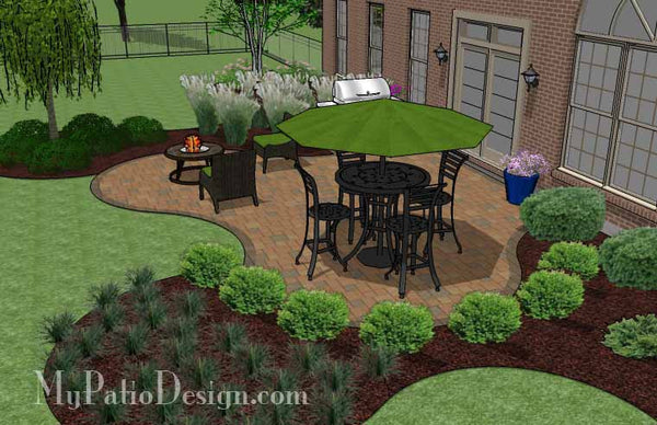 Circles and Curves Patio Design | Downloadable 3D Patio ... on Patio Designs For Straight Houses id=87698