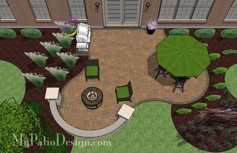 Circles and Curves Patio Design with Seat Wall 2