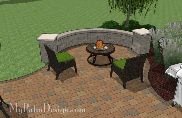 Circles and Curves Patio Design with Seat Wall | Downloadable Plan ...