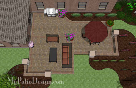 Cobbled Paver Patio Design with Seating Wall 2