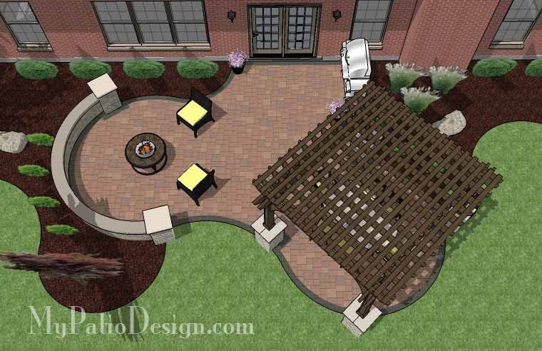 Concrete Paver Patio Design with Pergola 2