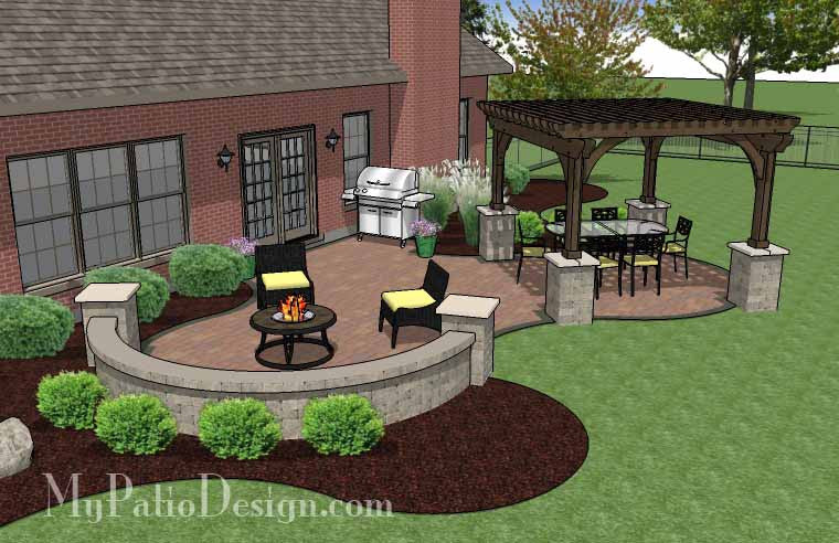 ... Concrete Paver Patio Design With Pergola 3 ...