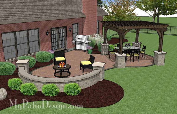 Concrete Paver Patio Design With Pergola Download Plan
