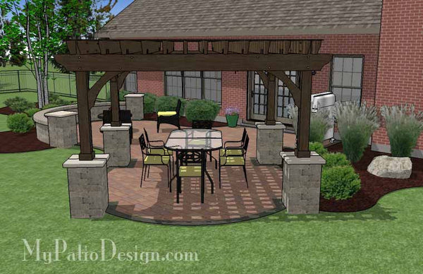 61 Backyard Patio Ideas: Concrete Paver Patio Design With Pergola