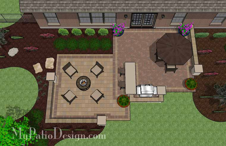 Contrasting Paver Patio Design With Grill Station Bar