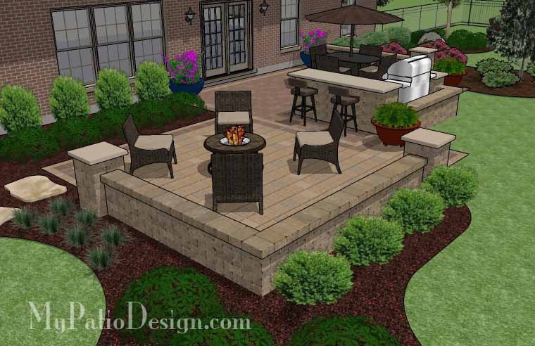 ... Contrasting Paver Patio Design With Grill Station Bar 3 ...