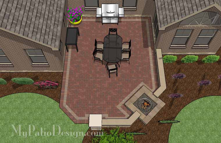 Courtyard Brick Patio Design with Fire Pit and Seat Wall 2