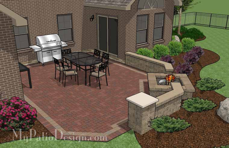 Patio Wall Design bbq patio Courtyard Brick Patio Design With Fire Pit And Seat Wall 3