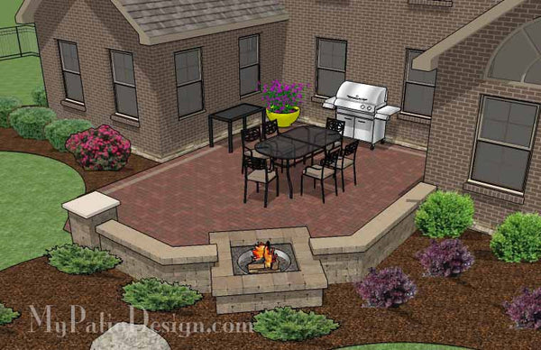 Courtyard Brick Patio Design With Fire Pit And Seat Wall