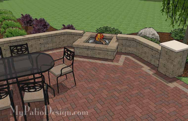 Patio Wall Design design for patio brick patio wall designs round brick patio elegant brick patio wall designs Courtyard Brick Patio Design With Fire Pit And Seat Wall 5