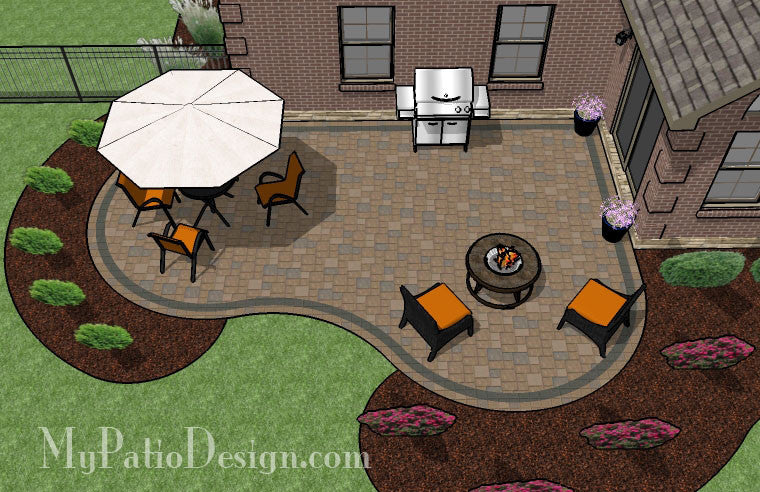 Cozy curvy paver patio design layouts material list for Designing a patio layout