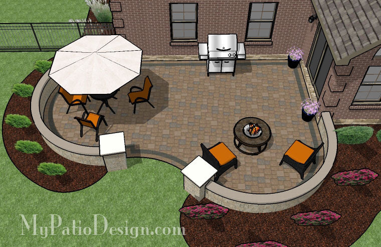 Cozy Curvy Paver Patio Design with Seat Wall 2