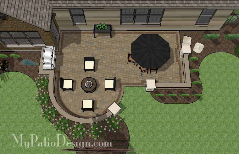 Cozy Outdoor Living Design with Seat Wall 1