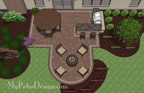 Creative Backyard Patio Design with Grill Station-Bar 2