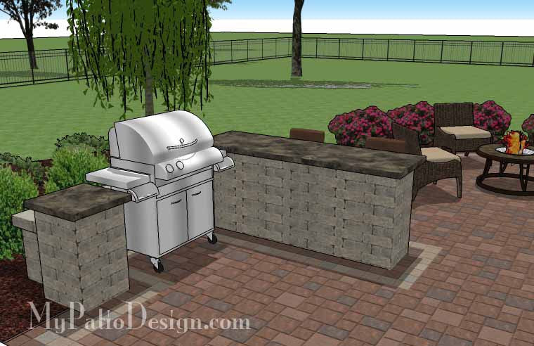 530 Sq Ft Creative Backyard Patio Design With Grill Station