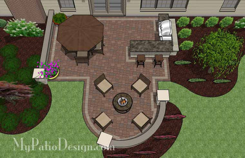 Creative Backyard Patio Design with Seating Wall 2