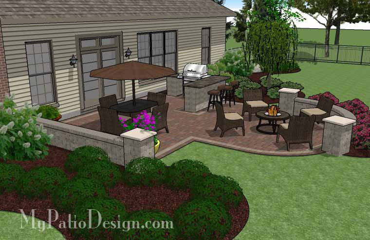 Creative backyard patio design with seating wall 525 sq for Creative garden design 805