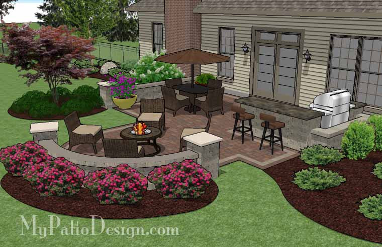 Creative backyard patio design with seating wall 525 sq for Patio plans and designs