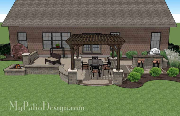Creative Brick Patio Design with Pergola, Fire Pit & Bar ... on Patio Designs For Straight Houses id=74916