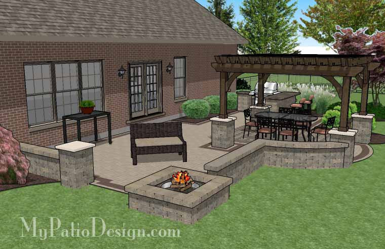 Backyard With Pergola creative brick patio design with pergola, fire pit & bar