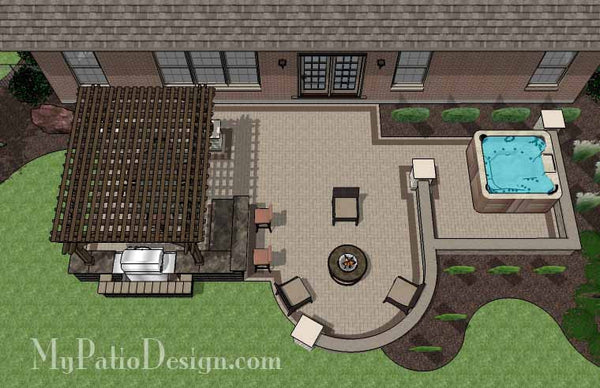 Creative Brick Patio Design With Pergola And Hot Tub