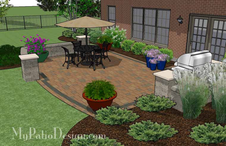 Simple Patio Designs Throughout Creative And Simple Patio Design With Seat Wall 410 Sq Ft