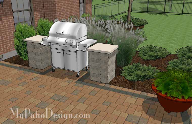 creative and simple patio design with seat wall - 410 sq. ft ... - Simple Patio Design