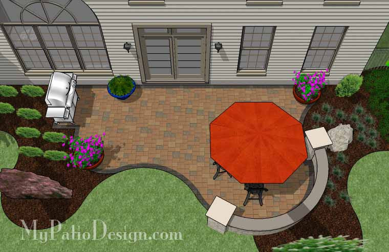 Curvy And Affordable Patio Design With Seat Wall   350 Sq. Ft.