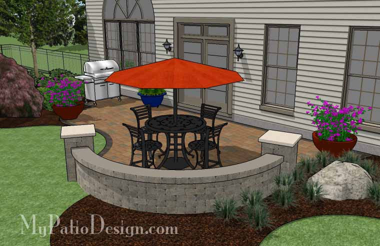 ... Curvy, Affordable Patio Design With Seat Wall 4 ...