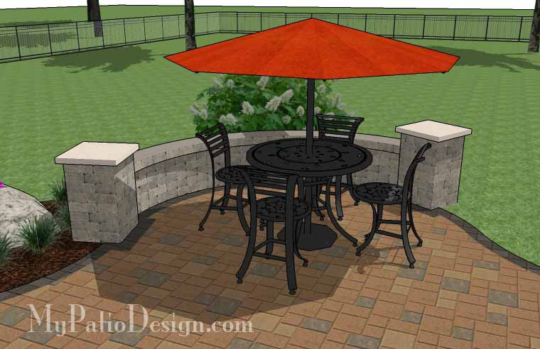 ... Curvy, Affordable Patio Design With Seat Wall 6 ...