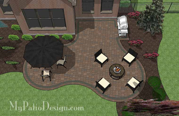 Curvy Backyard Patio Design | Download Patio Plan ... on Backyard Patio Layout id=44420