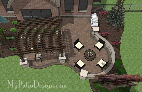 Curvy Backyard Patio Design with Pergola 2
