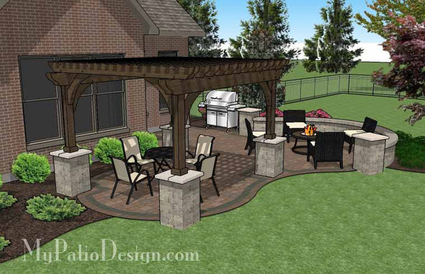 Curvy Backyard Patio Design With Pergola Patio Plan
