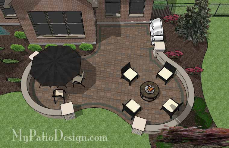 Curvy Backyard Patio Design with Seat Wall 2