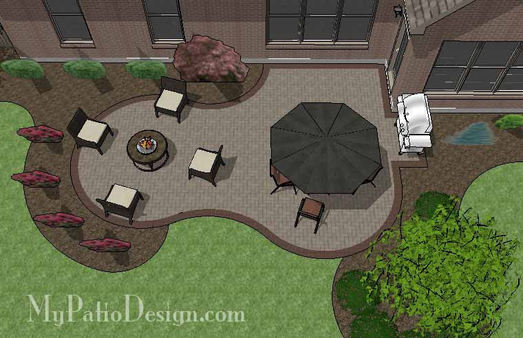 Curvy Brick Patio Design 1