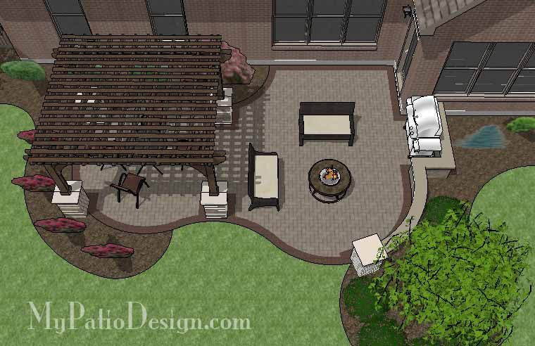 Curvy Brick Patio Design with Pergola 1
