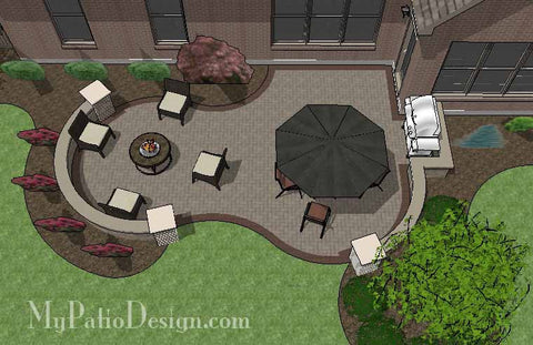Curvy Brick Patio Design with Seat Wall 1