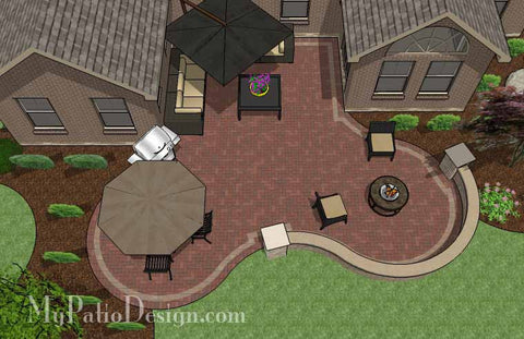 Curvy Courtyard Patio Design with Seating Wall 2