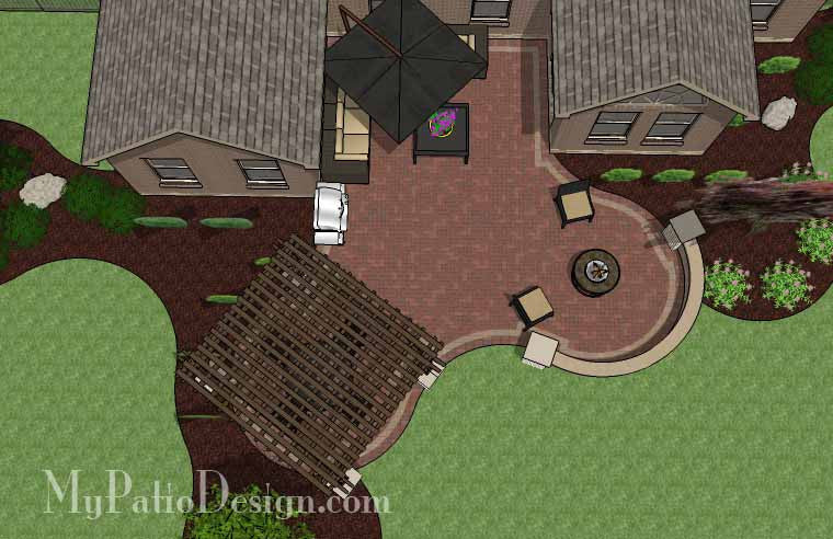 Curvy Courtyard Patio Design with Seating Wall and Pergola 2