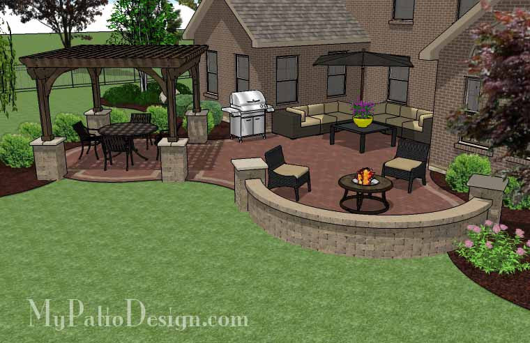 ... Curvy Courtyard Patio Design With Seating Wall And Pergola 3 ...
