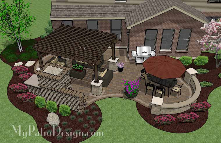 Curvy Outdoor Living Design with Pergola and Fireplace 2