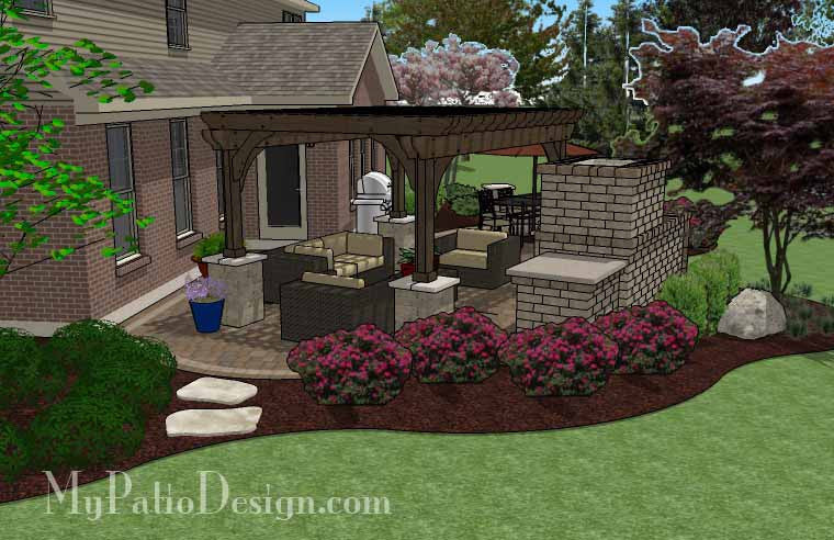 ... Curvy Outdoor Living Design with Pergola and Fireplace 3 ... - Curvy Outdoor Living Design With Pergola And Fireplace