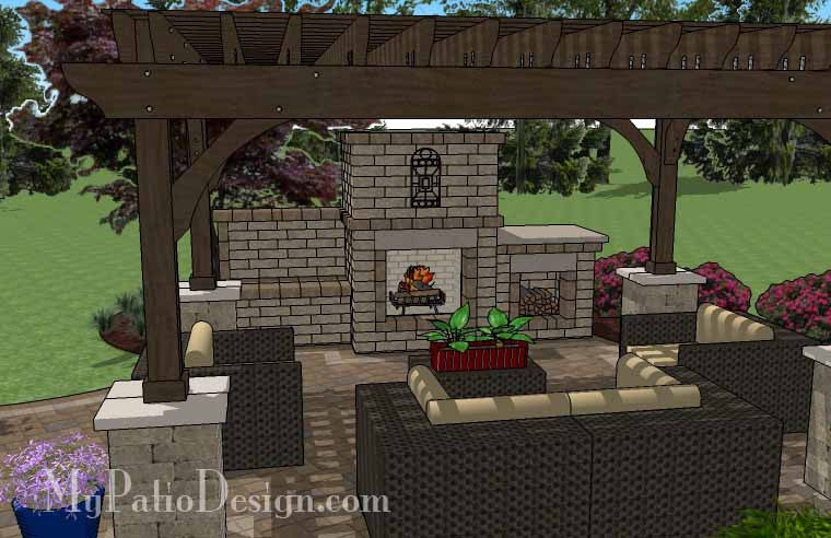 ... Curvy Outdoor Living Design with Pergola and Fireplace 5 ... - Curvy Outdoor Living Design With Pergola And Fireplace