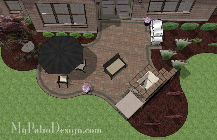 Curvy Patio Design with Fireplace 2