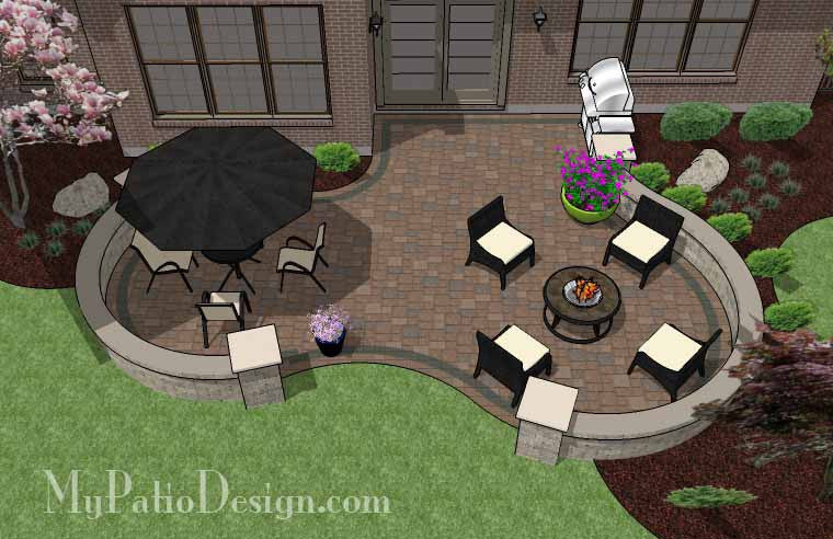 Curvy Patio Design with Seat Wall 2