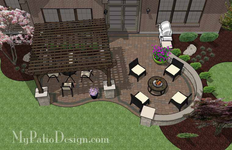 Curvy Patio Design With Seat Wall And Pergola Downloadable Plan Mypatiodesign Com