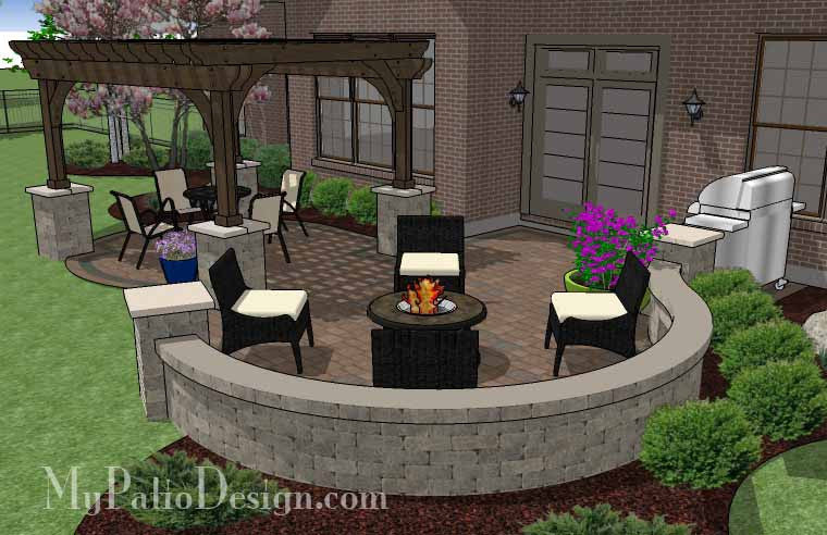 Curvy Patio Design with Seat Wall and Pergola Downloadable Plan