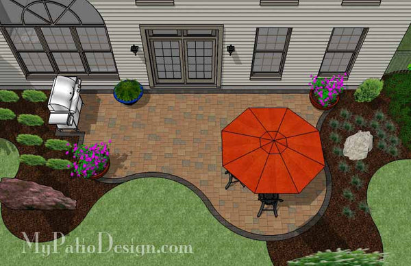 Curvy and Affordable Patio Design | Downloadable Plan ... on Patio Designs For Straight Houses id=14899