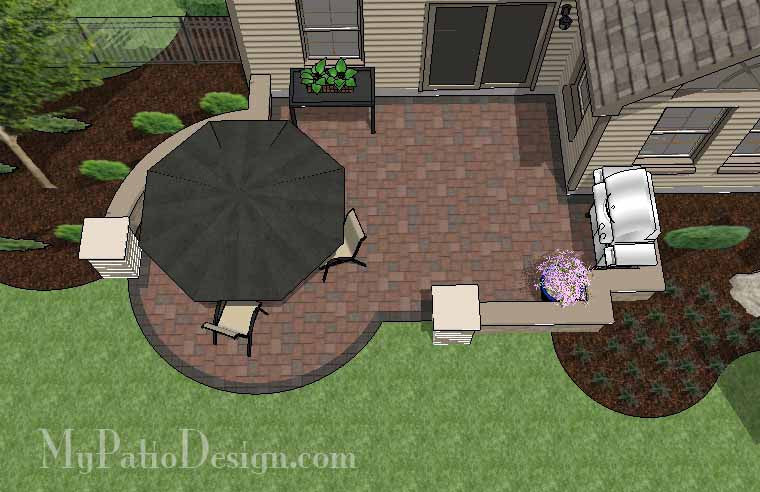 Diy budget friendly patio design with seat wall for Square patio design ideas
